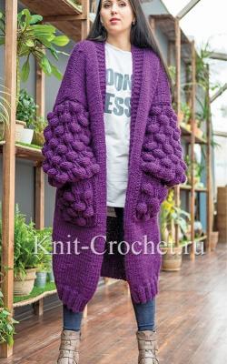 Модные фиолетовые кардиганы фото 1