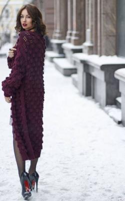 Модные фиолетовые кардиганы фото 3