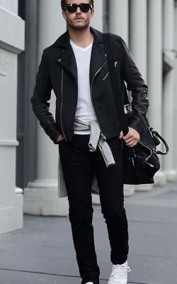С чем носить байкрскую куртку мужскую фото3