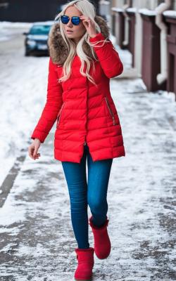 Красные угги с чем носить