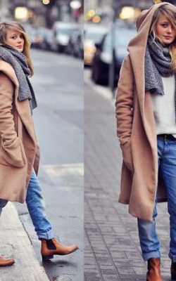 С чем носить длинное пальто с капюшоном фото 1