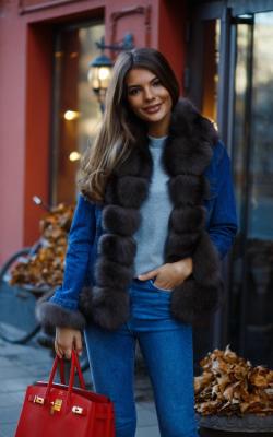 Женская меховая джинсовка фото 9