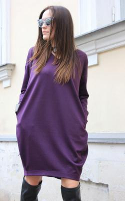 Фиолетовое платье баллон 1