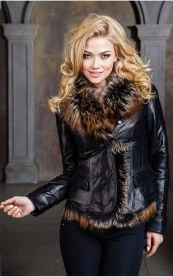 Зимняя кожаная женская куртка2