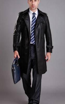Кожаное мужское пальто фото 2