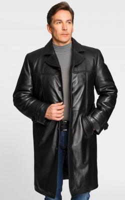 Кожаное мужское пальто фото 3