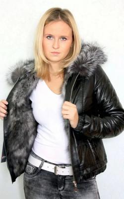 женская кожаная меховая куртка