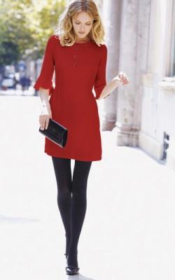 бордовое офисное платье фото 1