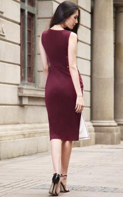 бордовое офисное платье фото 2