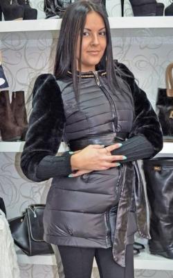 Куртка с меховыми рукавами фото 1