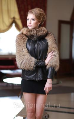 Куртка с меховыми рукавами фото 3