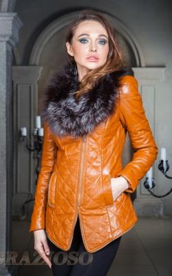кожаная куртка с мехом чернобурки2