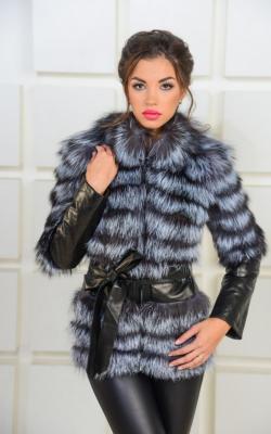 кожаная куртка с мехом чернобурки3
