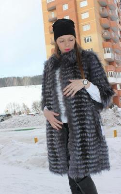 Меховое пальто на трикотажной основе фото 10