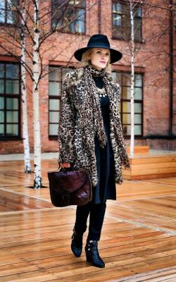 С чем носить леопардовую шубу-2