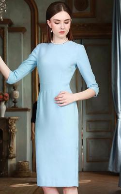 голубое офисное платье фото 1