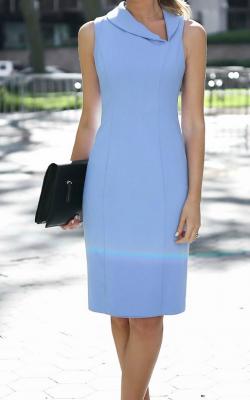 голубое офисное платье фото 2