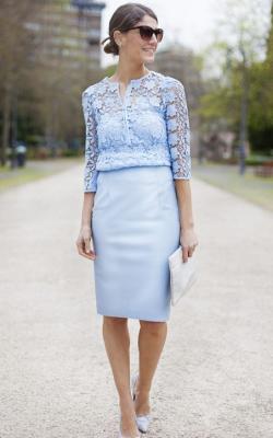 голубое офисное платье фото 3