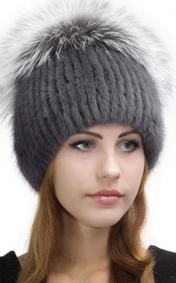шапка из вязаной норки фото1