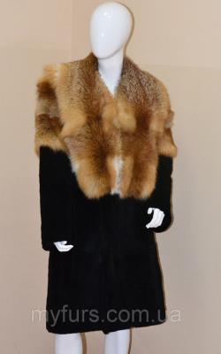 шубы из нутрии комбинированные мехом лисы 3
