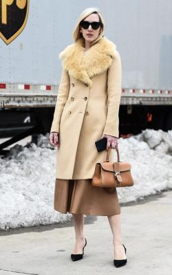 Пальто с меховым воротником и юбка фото 2