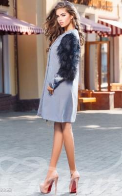 Пальто с меховыми рукавами фото 3
