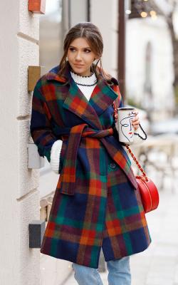 Женское пальто в клетку 2018-2019
