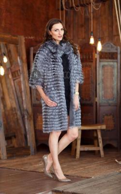 пальто на трикотажной основе из меха чернобурки фото 1