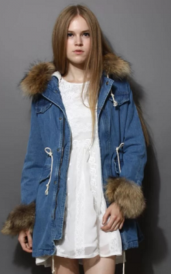 женская зимняя джинсовая парка с мехом -2