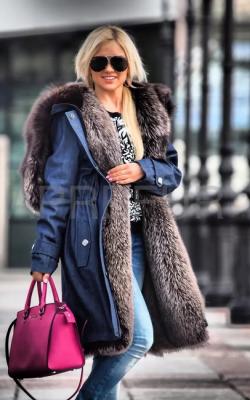 женская зимняя джинсовая парка с мехом фото - 1