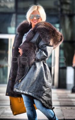 женская зимняя джинсовая парка с мехом фото - 3