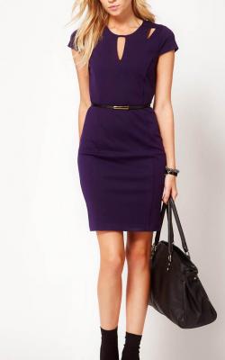 Фиолетовое платье карандаш 1