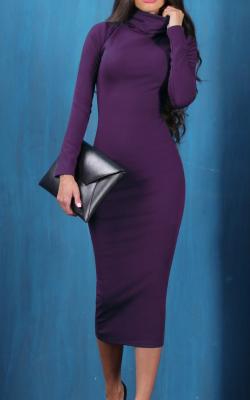 Фиолетовое платье карандаш 2
