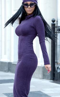 Фиолетовое платье карандаш 3