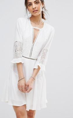 Платье с рукавами из кружевов 6