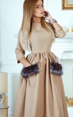 Платье с мехом 2018-2019 фото 1