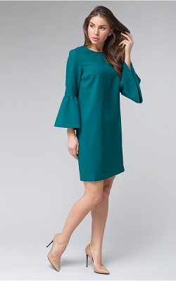Платье с рукавом-коловолом фото