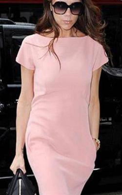 Нежно-розовое офисное платье фото 1