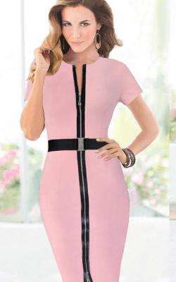Нежно-розовое офисное платье фото 2