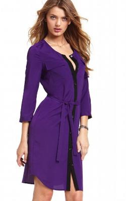 Фиолетовое платье рубашка 1