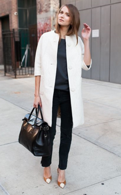 С чем носить пальто без воротника фото 6