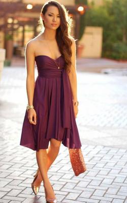 С чем носить фиолетовое платье 1