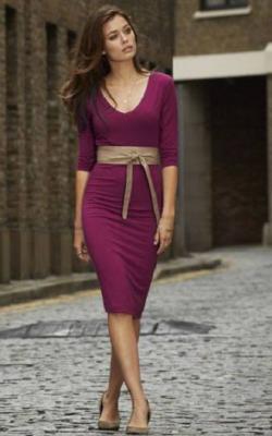 С чем носить фиолетовое платье 5