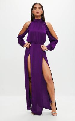С чем носить фиолетовое платье 6