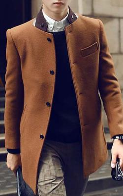 Серое мужское пальто фото 6