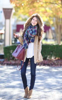 шарф на пальто с капюшоном фото 3