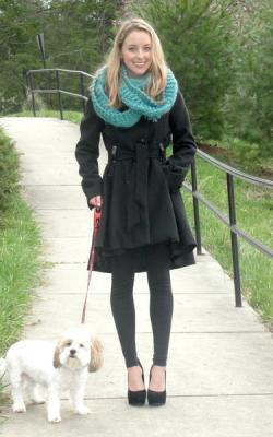 шарф на пальто с капюшоном фото 5