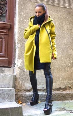 шарф на пальто с капюшоном фото 6