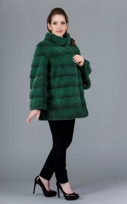 норковая шуба зеленого цвета - 3