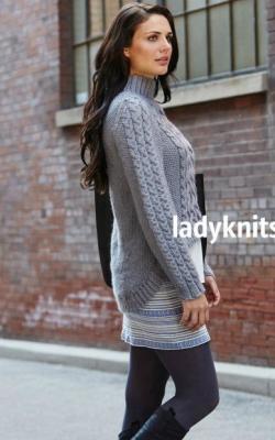 Вязаный свитер с удлиненной спинкой фото 6